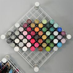 Here's a nifty way to make a craft storage centre for all your craft paints. You can also use this craft storage centre for glitter, nail polish and lipstick, or cotton thread. In fact, there are so many ways to use this craft storage centre. Hang one in a child's bedroom for storing crayons, pencils and kokies. http://www.home-dzine.co.za/crafts/craft-rack.htm#