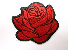 Fer de Rose rouge ou coudre sur Patch