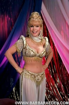 "Barbara was first seen in this reunion costume designed by Jeff Billings in ""I Dream of Jeannie: 15 Years Later."" She wore it again for the second film in 1991 ""I Still Dream of Jeannie,"" seen here in a promotional shot for the TV movie."