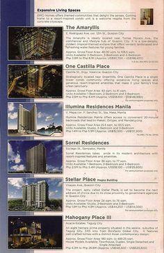 HIGH RISE CONDOMINIUM Torre de Manila -launched May 18 (Kalaw, Manila) Zinnia Tower - launched Jan. 3 (Munoz QC) One Castilla Place - launched Jan 23 (Valencia Hillas, QC) Flair Tower (Relliance Mandaluyong) Tivoli Gardens (Mandaluyong City) La Verti (Taft Ave Pasay) Royal Palm (Acasia Estate Taguig near The Fort) Sorrel Residences (Manila) The Amaryllis (E. Rodriguez QC) Dansalan Garden (Mandaluyong) Townhouses, Subdivisions and Time Shares: Mahogany Place I, II, III (Acacia Estate) & MID…
