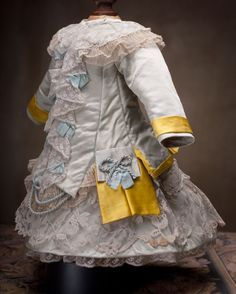 antique doll dress | Antique French Aqua Silk DRESS for Jumeau,Bru,Steiner,Eden Bebe doll