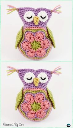 Crochet Amigurumi Owl Amimigurumi African Flower Sleepy Owl Toy Crochet Free Pattern - Amigurumi Owl Toy Softies Free Crochet Patterns - Amigurumi Crochet Owl Free Patterns Instructions: Crochet Owl Toys, Ornaments, Baby Gifts, Home Decor, Owl Pillows and Owl Crochet Pattern Free, Crochet Owls, Crochet Motif, Free Crochet, Free Pattern, Owl Patterns, Amigurumi Patterns, Stuffed Animal Patterns, Stuffed Animals