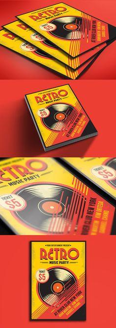 Retro Music Flyer by Muhamadiqbalhidayat on Envato Elements Record Label Logo, Music Flyer, Music Party, Poster Ads, Retro Ideas, Flyer Template, Flyer Design, Flyers, Graphic Illustration