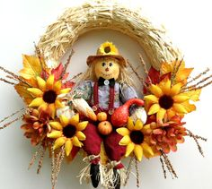 Fall wreath Scarecrow wreath Fall decor by CountryCraftsnflower Diy Fall Wreath, Autumn Wreaths, Holiday Wreaths, Wreath Ideas, Thanksgiving Wreaths, Vintage Thanksgiving, Fall Scarecrows, Straw Wreath, Scarecrow Wreath