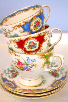 I have 2 of these vintage Royal Albert teacups!  I have the red Canterbury and the Albany green (but can't find the Albany blue yet!)