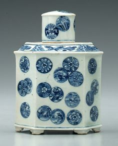 Chinese porcelain tea box, blue coin-style rondels, base with artemisia leaf, Qing Dynasty, Kangxi Period, 1662-1722 if of the period, probably 19th century, 6-1/2 in. Small lid chip, other minor glaze flaws.  Provenance: Bob Timberlake Collection.