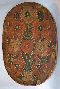 Primitive Pennsylvania Dutch Oval Box Handpainted -19th. Century.