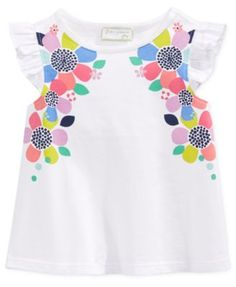 First Impressions Baby Girls' Flutter-Sleeve Floral T-Shirt, Only at Macy's