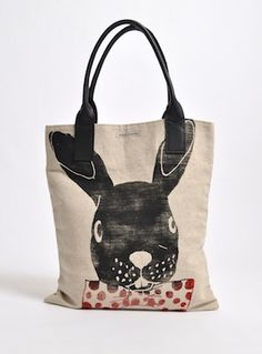 Young British Designers: Canvas Bag with Rabbit by Simeon Farrar - Nonchanantly throw this shopper over your shoulder and bring your world to a happy place. Simeon's limited edition rabbit print bag is sure to become your favourite accessory for everyday fun.