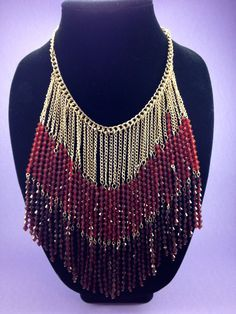 Red Beaded Bib Necklace $50.00