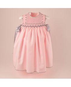 lovely grey and pink smocked sleeveless dress