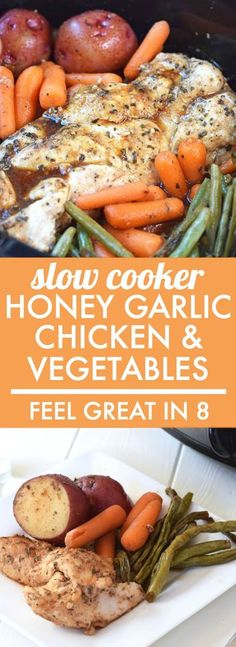 Slow Cooker Honey Garlic Chicken and Vegetables - This is as easy as a healthy dinner gets! Throw all of the real food ingredients into the Slow cooker and you've got a delicious dinner the whole family will love! Healthy Crockpot Recipes, Slow Cooker Recipes, Healthy Dinner Recipes, Real Food Recipes, Cooking Recipes, Healthy Tips, Healthy Crockpot Chicken Recipes, Zone Recipes, Crockpot Ideas