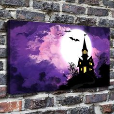 Happy Halloween Painting HD Print on Canvas Home Decor Wall Art Pictures12x22 | eBay