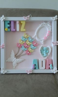Kokulu tas pano isimlik.. Decor Crafts, Diy Crafts, Home Decor, Handmade Frames, Box Frames, Soap Favors, String Art, Button Crafts, Baby Party