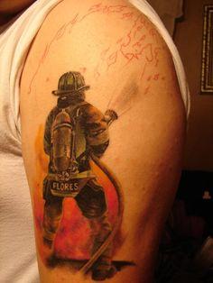 firefighter tattoos - Google Search Dad Tattoos, Sweet Tattoos, Tattoo You, Body Art Tattoos, Tattoos For Guys, Fireman Tattoo, Firefighter Tattoos, Rock Design, Tattoo Designs