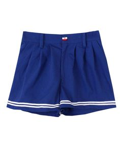 Buttons-detailed Striped Navy Shorts