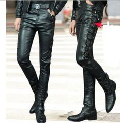 HOT-Mens-Side-Lace-Up-Motorcycle-Biker-Rider-Vegan-Faux-Leather-kinny-Long-Pants