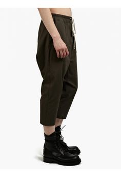 Grey Dropped-Crotch Cropped Trousers - RICK OWENS