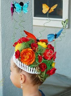 Crazy hair day inspiration or this could be pulled off for Easter hat parade Crazy Hair For Kids, Crazy Hair Day At School, Crazy Hair Day For Teachers, Crazy Hat Day, Hat Hairstyles, Little Girl Hairstyles, Crazy Hairstyles, Halloween Hairstyles, Hairstyles Pictures