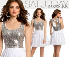 Camille La Vie silver sparkle and white homecoming dress