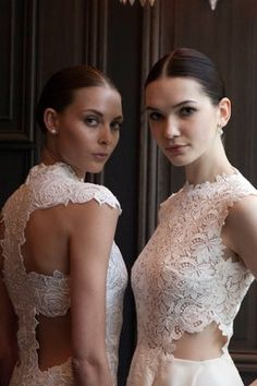 A game of peekaboo in Monique Lhuillier's spring 2016 bridal collection.