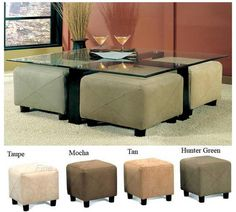 coffee table with stools -- love this idea for stools tucked under