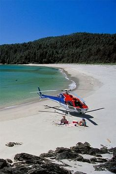 Take the heli to a private beach for a picnic? - Take the heli to a private beach for a picnic? Luxury Helicopter, Helicopter Private, Aigle Animal, Jet Privé, Private Plane, Private Jets, All Inclusive Resorts, Luxury Resorts, Air Show
