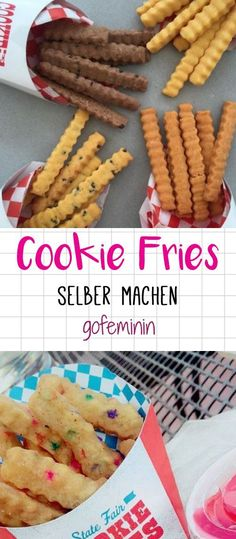 DIY Cookie Fries – so machst du die süßen Trend Fritten selbst! DIY Cookie Fries – that's how you make the sweet trend fries yourself! Cute Food, Good Food, Yummy Food, Cakes Originales, Cookie Recipes, Dessert Recipes, Cookie Ideas, Frosting Recipes, Snacks Für Party