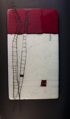 Vicky Kokolski and Meg Branzetti (MeKo Designs) Glass Artist Window Opens II - MeKo Designs - fused glass and metal use 'book wings' and 'ladder' photos w/ encuastic white red and black Glass but it looks like encaustic // Meko Designs There isn't a lot o Ceramic Wall Art, Glass Wall Art, Art Sculpture, Wall Sculptures, Creation Art, Encaustic Painting, Collage Art, Modern Art, Art Projects