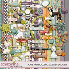 Cats and Dogs Digital Scrapbooking Kit | ScrapVine