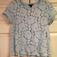 FOREVER 21 - Powder Blue Lace Top  - Small This classy top is made of 77% Cotton 23% Nylon and the shell is 100% Cotton.  Hand Wash Cold - Line Dry Forever 21 Tops
