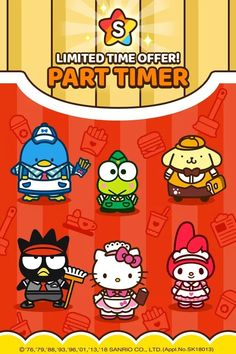 Meet Hello Kitty Friends who work part-time in a restaurant! Hello Kitty Characters, Hello Kitty Themes, Japanese Cartoon Characters, Pochacco, Little Twin Stars, My Melody, Kawaii Drawings, Kawaii Art, Cool Cartoons
