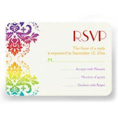 Rainbow colors damask wedding RSVP reply card. #rainbowwedding, #RSVP, #replycard, #responsecard, #damask, #weddings