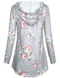 fbdac1ea0e1 Cute Hoodies Kimmery Woman Rose Print Top Long Sleeve Cross V Neck  Sweatshirt Double Pocket Flowy