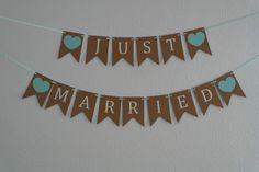 Hochzeitsgirlanden - Girlande JUST MARRIED (mint) - ein Designerstück von GingerCraftwork bei DaWanda