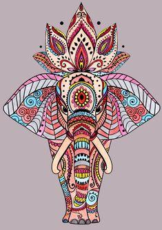 Tatuaje Elefante Mandala Ideas 18 Ideas - tattoo, jewerly, other accessories - Tattoo Elephant Mandala Concepts 18 Concepts Tatuaje Elefante Mandala Concepts 18 Concepts Mandalas Painting, Mandalas Drawing, Mandala Coloring Pages, Doodle Coloring, Adult Coloring, Mandala Flower, Flower Henna, Elefante Hindu, Mandala Elephant