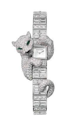 @Cartier Fabuleux Baguette Panthère watch; case and bracelet in white gold set with brilliant-cut and baguette-cut diamonds.