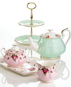 Tea Time!!! Andrew promised to buy me this if we had a girl so that we could all have tea parties together. lol  Royal Albert Old Country Roses Vintage & Polka Rose Tea Collection