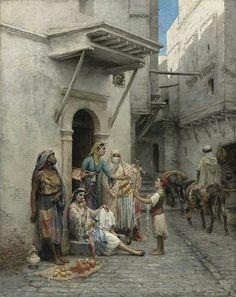 Algérie - Peintre Français Pierre Outin (1839-1899), huile sur toile, Titre : Le jeune marchand de fleurs