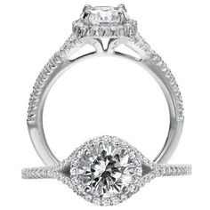 Bella Vita Half Round Split Shank Diamond Engagement Ring With Round Halo