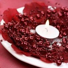 Wunderschöne rote Perlengirlande für Eure Hochzeitsdeko