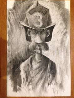 Next in the series of charcoal firefighter caricature-type drawings... He's got some of the classic salty Captain qualities. #firefighter #art #illustration