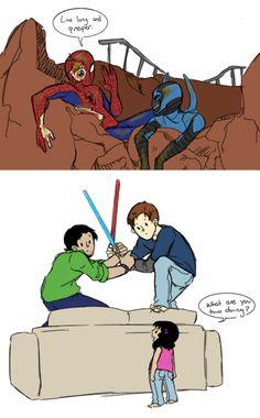 Jaime and Milagro Reyes (c) DC Comics. Peter Parker (c) Marvel << Bug Bros! Funny Marvel Memes, Marvel Jokes, Dc Memes, Marvel Dc Comics, Marvel Heroes, Funny Comics, Marvel Avengers, Superfamily, Spideypool