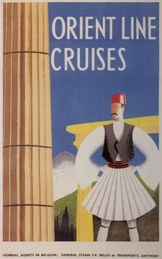 Orient Line Cruises to Greece Vintage Travel Advertising Poster Poster City, Poster Ads, Advertising Poster, Travel Ads, Travel Images, Bus Travel, Vintage Boats, Greek History, Poster Pictures