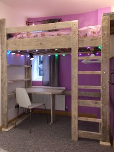 Give your girl a work space where she can do homework, artwork or whatever you would need a table for! is part of Kids loft beds - Room Design Bedroom, Girl Bedroom Designs, Room Ideas Bedroom, Bedroom Loft, Dream Bedroom, Bed Designs, Girls Bedroom, Bed Rooms, Room Decor