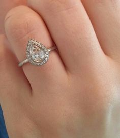 Pear halo engagement ring :)