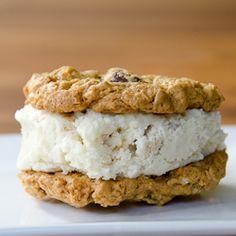 Gluten-free oatmeal PB chocolate chip ice cream cookie sandwhich
