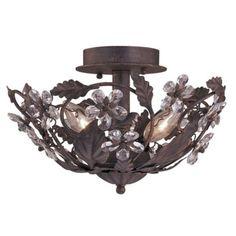 "Crystal Flowers 12"" Wide Bronze Ceiling Light Fixture - LightingLuxuryStyle.com"