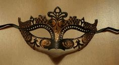 Black & Bronze Lazer Cut Masquerade Mask