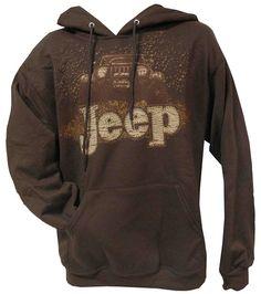 """All Things Jeep - """"Mudbogging Jeep"""" Men's Fleece Hooded Sweatshirt, Brown"""